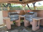 BBQ Grills in the Pool Area Just a Few Steps from Lanai