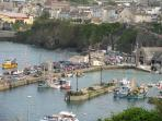 Newquay Harbour at full tide
