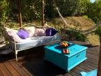 Comfortable shaded deck area for chilling