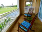 Living room balcony overlooking the golf course and stream