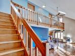 You'll find 2 bedrooms upstairs and 1 bedroom downtstairs