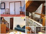 la chambre avec belle vue sur jardin, le séjour et sa cuisine aménagée