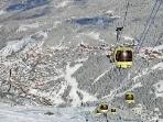 The Olympic Gondola connects Brides-Les-Bains to Meribel