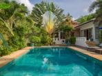 Baan Jasmine Bali Stone Pool and beautiful Travellers Palm