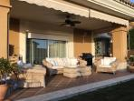Large terrace, fully shaded in July & August with remote control ceiling fan, BBQ & outdoor dining