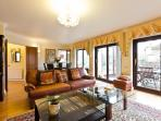 2 large Leather sofas in spacious and comfortable lounge.