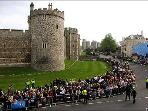Crowds lining Windsor High Street , outside Windsor Castle awaiting Queen Elizabeth.