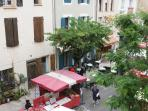 view from window  of street market