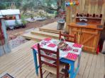 kitchen, decks, Ruby, outdoor bath, pond with frogs - fields beyond.