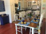 Farmhouse table seats 10 comfortably