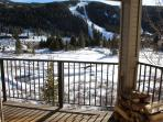 Outdoor 3 rd floor porch with views of Keystone Mountain