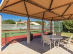 Nice shade separating Tennis Courts