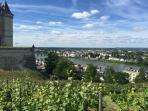 The majestic chateau of Saumur towering over the Loire river.  A short walk from away.