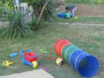 Kids can enjoy playing in the garden. We have even more toys for them (pictures  soon)!