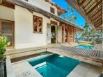 lap pool and bridge to master bedroom