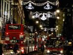 Oxford Street at Christmas; just a few blocks away