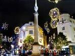 Seven Dials at Christmas; this is the view outside the apartment
