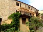 Back of villa faces Sibillini Mountains, garden & pool below