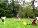 Play baseball or football in the outdoor playground .It has swings, slides, a climbing frame,