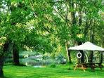 The riverban where you can enjoy Picnics and BBQ's  beside the River w/o leaving the property.