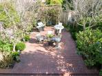 Lovely, spacious outdor patio with BBQ and dining area. Flowering garden all spring and summer.