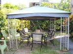 Gazebo, table, chairs
