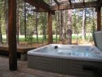 Hot tub viewing golf course