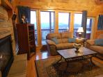 Den:Leather Furniture, Gas Fire Place, Spectacular View overlooking Wears Valley and Smoky Mountains