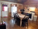 Dining/Kitchen areas Creekside Cabin