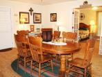 Dining table for 6...there are 2 additional bar stools that can be added around the table...
