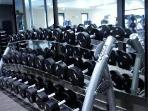 Gym with cardio equipment, free weights and machines.  Fitness classes - yoga, pilates, zumba, spin
