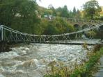 Llangollen chain bridge and restaurant