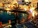 Saint Julian's promenade by night. Spinola Bay is just down the road from the apartment.