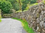 The drystone wall separating the house from the lane.