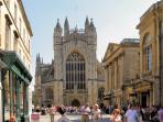 Bath abbey is close by.