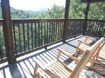 Loft Deck: 2 Teak Rockers, Beautiful View of Cove Mountain and a 20 mile view of the Smoky Mountains