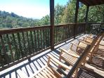 4 Teak Rockers, Pub Table with 2 bar stools, beautiful view of Cove Mountain and 20 mile Mtn View
