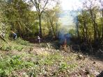 Volunteers working 2015, clearing area of  south facing  embankment. Habitat for future wildlife.