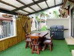 Hanging plants, bamboo privacy screen, dual grill, & massive mango wood table.