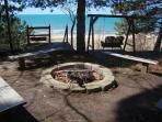 Firepit overlooks the beach. Great at sunset or anytime really!