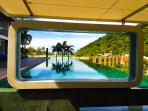 A window to the relaxing World - ready for a swim? This is one of two outside pools