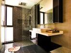 Luxury bathroom with rain shower