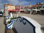 Ferragudo square, with restaurants, three minutes downhill from the apartment.