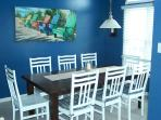 Large dining area seats 8 comfortably