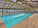 Enjoy a soothing dip in the indoor complex swimming pool