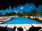 Main Pool At Beach, Heated. Also Has Sitting area With Tables, Chairs & Palapa, Wi-Fi & Fridge.