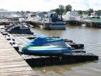 Floating docks for your jet ski, marina has space for your boat.
