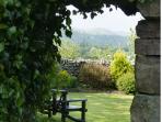 Pink granite entrance to secret garden