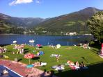 Zell am See lake, water skiing, diving boards, boats to hire