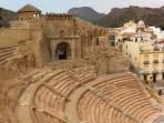 Cartagena Roman Amphitheatre. Walk through history on the ancient steps and walkways..